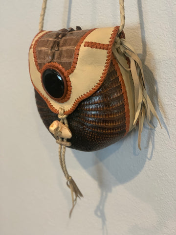 Hand made leather armadillo bag