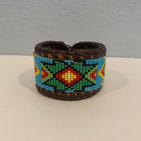Beaded n leather bracelet 39