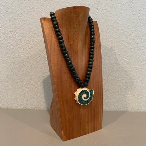 Necklace - Guatamala Jade w Enlayed shell