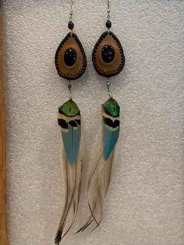 Leather n Feather Earrings 64