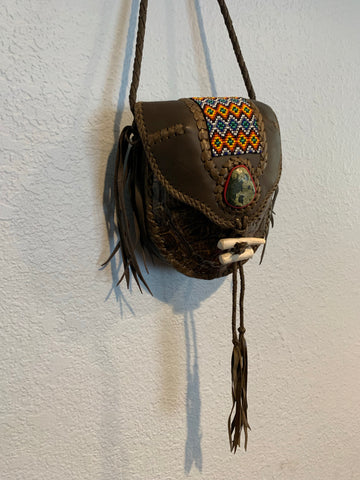 Hand made leather n beaded turtle bag 2