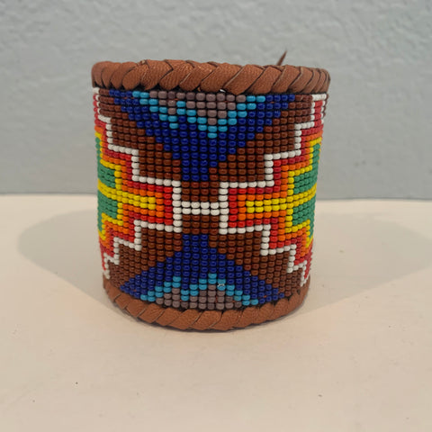 Beaded n leather bracelet 28