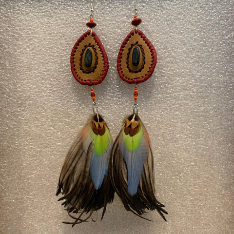 Leather n Feather Earrings 55