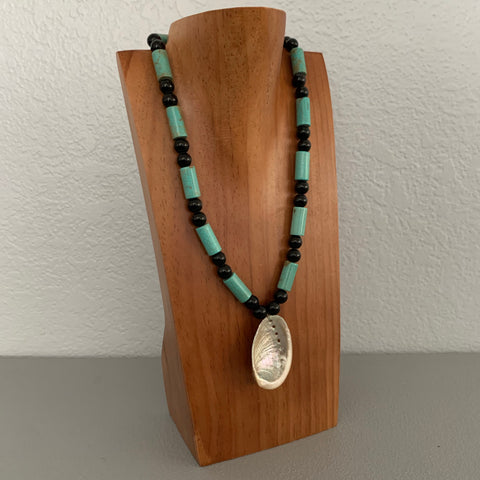 Necklace - Turqouise and Onyx w abalone
