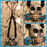 Necklace - Obsidian n Abalone Skull