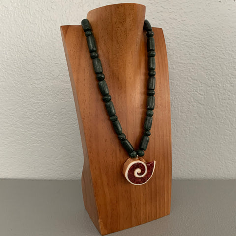 Necklace - Guatamala Jade w Enlayed shell 3