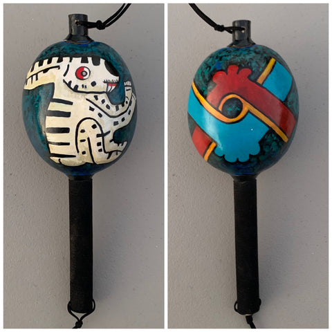 Aztec Dance Rattle painted