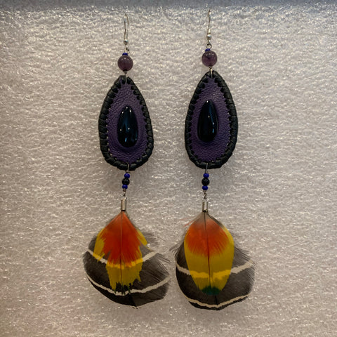 Leather n Feather Earrings 47