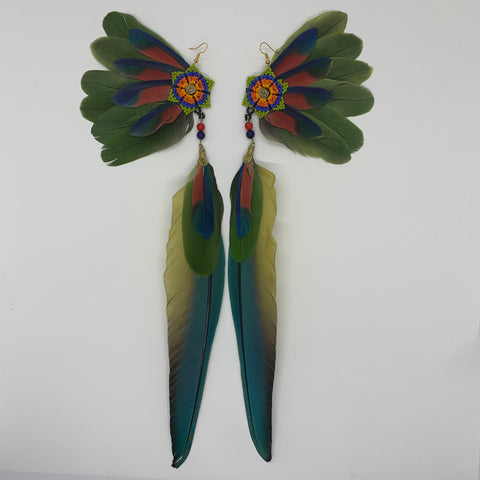 Feather Wing Earrings w Beaded flower 20