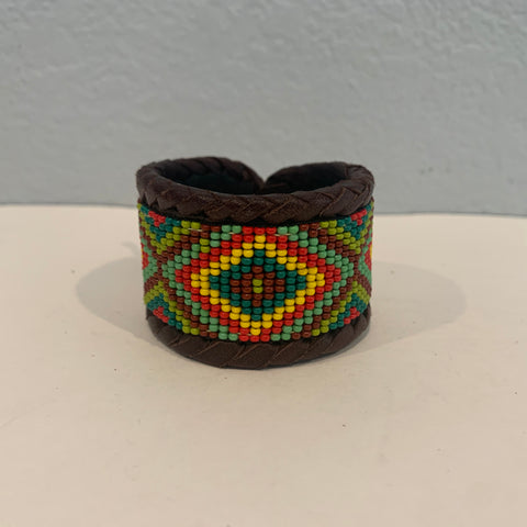 Beaded n leather bracelet 34