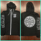Windbreaker - Black, Aztec Calendar zip up