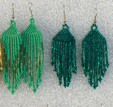 Earrings beaded Green (2 pairs)