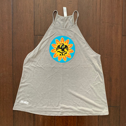 Tank Top - Ladies Flowy High Neck - Mexica Flag Tan