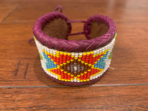 Beaded n leather bracelet