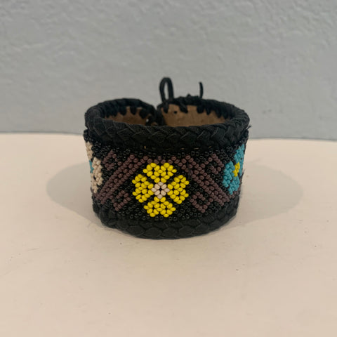 Beaded n leather bracelet 38