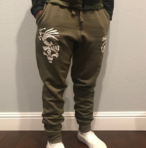 Joggers - Army green fitted - Huitzixochitl (Hummingbird n Flower)