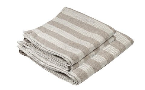 BLESS LINEN Jacquard Striped Pure Linen Towel Set of 3, Gray/White - Includes 1 Bath Towel and 2 Hand Towels
