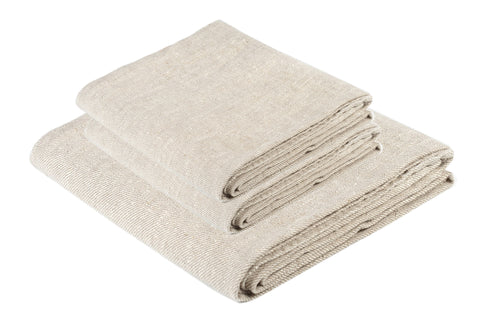 BLESS LINEN Natural Huckaback Pure Linen Towel Set of 3, Natural Gray - Includes 1 Bath Towel and 2 Hand Towels