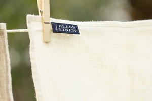 BLESS LINEN Stonewash Pure Linen Flax Bath Towel, White - BLESS LINEN pure linen towels and blankets - 4