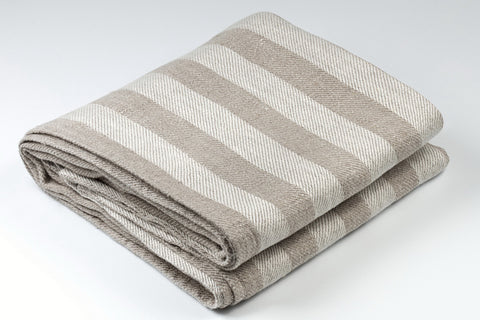 BLESS LINEN Jacquard Striped Pure Linen Flax Bath Towel, Grey/White