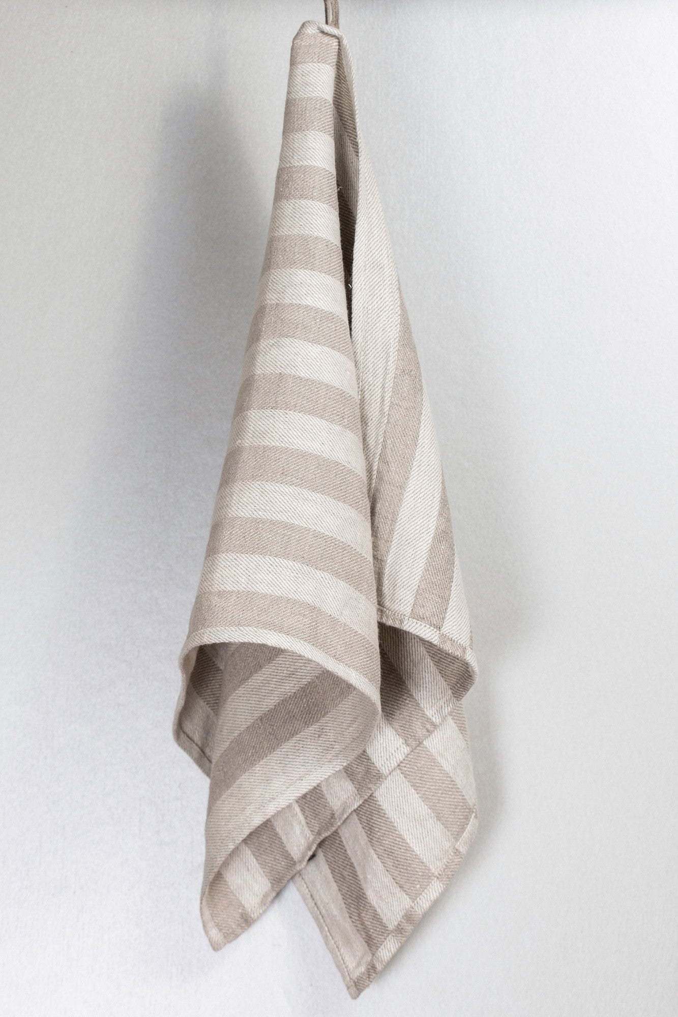 BLESS LINEN Jacquard Striped Pure Linen Flax Bath Towel, Grey/White - BLESS LINEN pure linen towels and blankets - 6