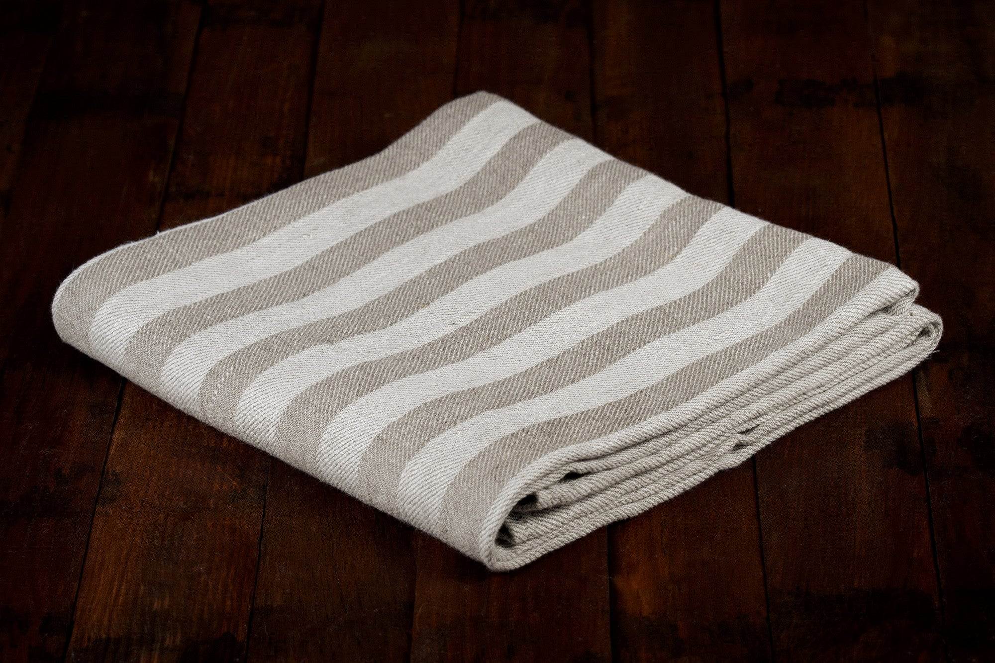 BLESS LINEN Jacquard Striped Pure Linen Flax Bath Towel, Grey/White - BLESS LINEN pure linen towels and blankets - 4