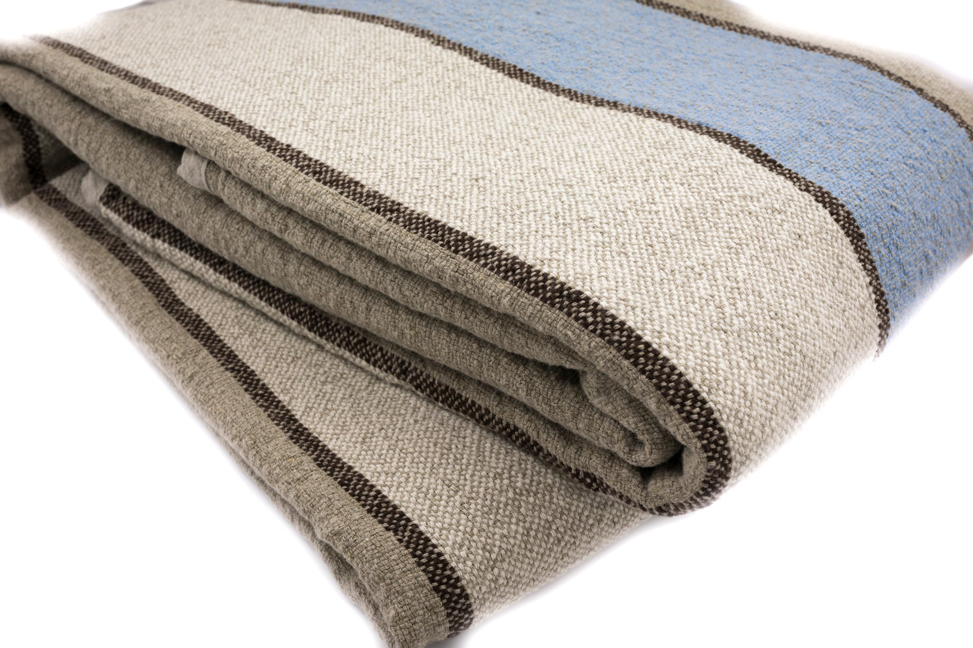 BLESS LINEN 100% Linen Throw Blanket, 87 x 83 Inches, Blue Striped