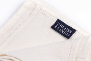 BLESS LINEN Stonewash Pure Linen Flax Hand Kitchen Towel 2-Pack, White - BLESS LINEN pure linen towels and blankets - 3