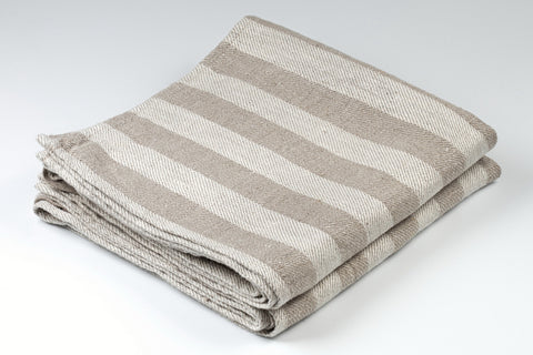 BLESS LINEN Jacquard Striped Pure Linen Flax Hand Kitchen Towel 2-Pack, Grey/White