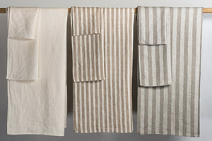 BLESS LINEN Jacquard Striped Pure Linen Flax Hand Kitchen Towel 2-Pack, Grey/White - BLESS LINEN pure linen towels and blankets - 6