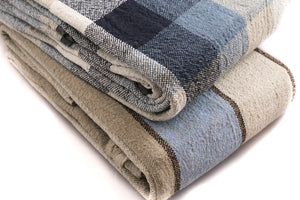 BLESS LINEN 100% Linen Throw Blanket, 87 x 83 Inches, Blue/Grey Plaid