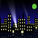 Cartoon like Illustration of Cityscape at night with search lights