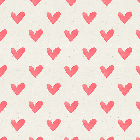Seamless Watercolor Heart Pattern on Paper Texture Backdrop