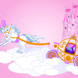 Fairy Tale Cartoon Carriage with Unicorns Backdrop