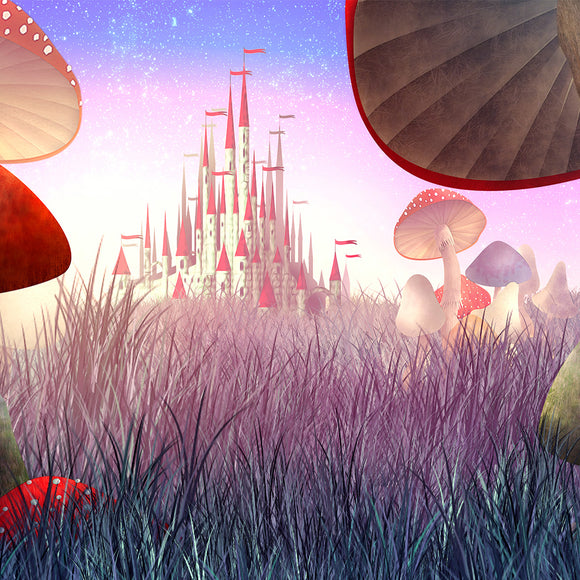 Fantastic Landscape with Mushrooms and Fog Fairy Tale Alice in Wonderland Backdrop