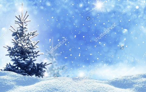 Frozen Tree Blue Glittering Sky Print Photography Backdrop