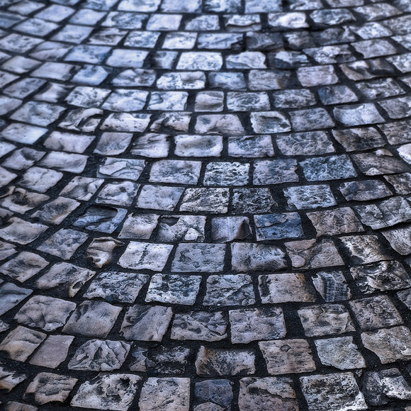 Cobblestone Street Dark Night Background Texture Backdrop