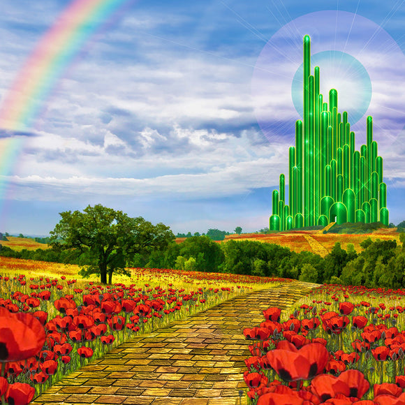The yellow brick road leading to the Emerald City in the land of Oz Backdrop