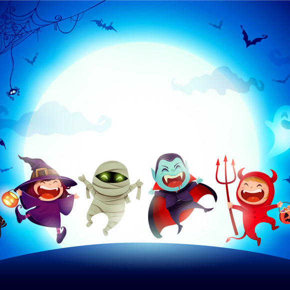Group of Kids in Halloween Costume Jumping in The Moonlight Backdrop