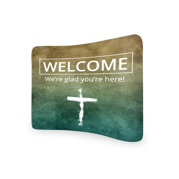 Church Welcome We're Glad You're Here Banners Curved Tension Media Wall Backdrop