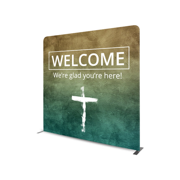 Church Welcome Banners Straight Tension Media Wall Backdrop