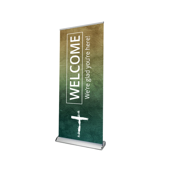 Church Welcome We're Glad You're Here Retractable Banner Stand