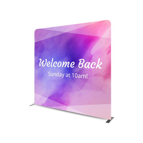 Welcome Back Sunday at 10 AM Straight Tension Fabric Media Wall Backdrop