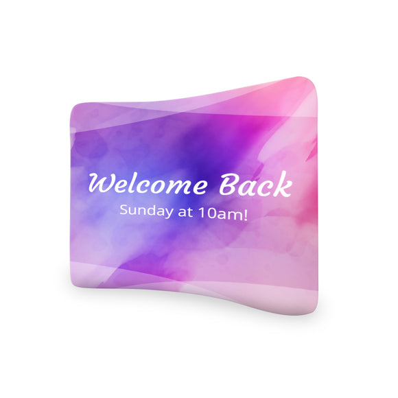 Church Welcome Back Sunday at 10 AM Curved Tension Fabric Media Wall Backdrop