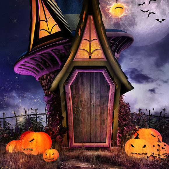 Halloween Scene With Fantasy Hut Backdrop