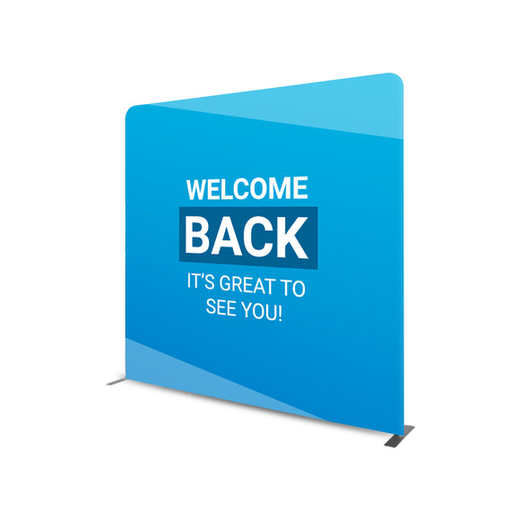 Welcome Back It's Great To See You Straight Tension Fabric Media Wall Backdrop