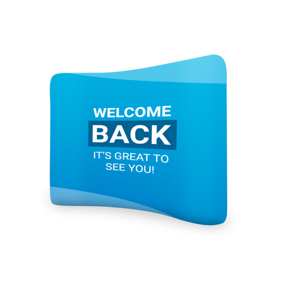 Church Welcome Back It's Great To See You Curved Tension Fabric Media Wall Backdrop