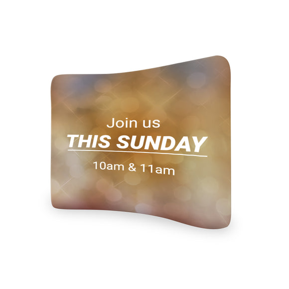 Church Welcome Join This Sunday 10 AM & 11 Am Curved Tension Fabric Media Wall Backdrop