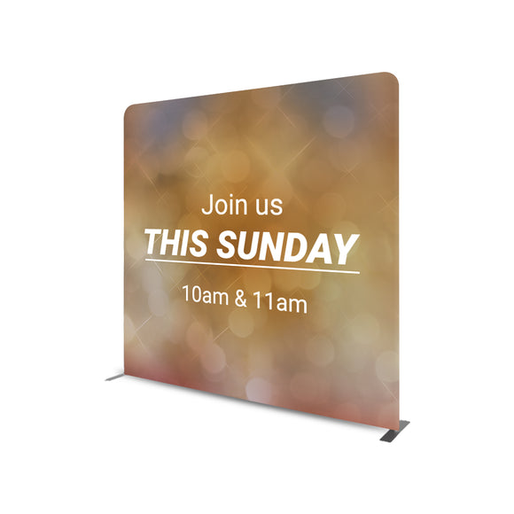 Join This Sunday 10 AM & 11 AM Straight Tension Fabric Media Wall Backdrop
