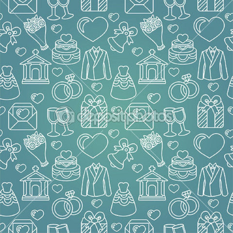 Wedding Celebration Theme Indelible Print Fabric Backdrop